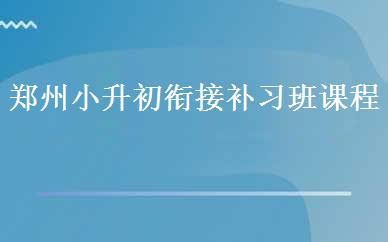 郑州小升初衔接补习班课程